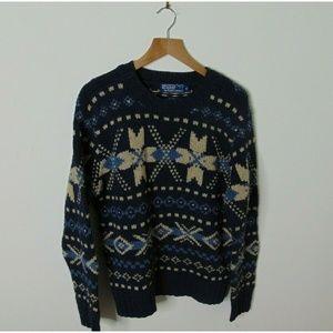 Ralph Lauren M Hand Knit Sweater Silk Wool Blue